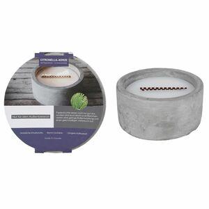 Citronella-Papierdochtkerze in Zementschale 14,5x7cm Weiß