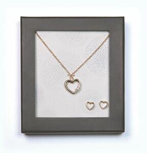 Geschenkset Modeschmuck - Herz, gold mit Steinen