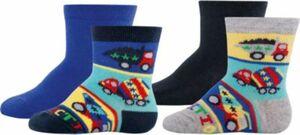 Baby Socken 4er-Pack, , Baustelle Gr. 17/18 Jungen Baby