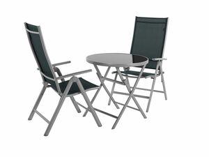 FLORABEST Balkonmöbel Set Aluminium, 3-teilig, grau