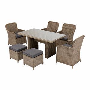 "Haveson              Gartenmöbel-Set ""Kapstadt"", Rattan, Tisch + 4 Sessel + 2 Hocker, grau-Meliert,"