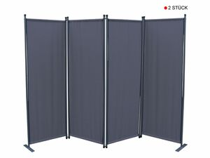 Grasekamp 2 Stück Paravent 4tlg Raumteiler  Trennwand Sichtschutz Grau