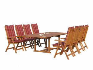Grasekamp Garten Möbelgruppe Cuba 17tlg Rubin  gestreift mit ausziehbaren Tisch