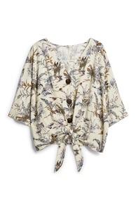 Gemusterte Bluse mit Zierknoten
