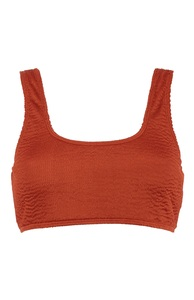 Orange-rotes Bikinitop in Knitteroptik