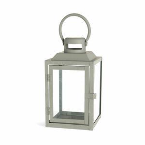 Laterne Skandi Glas, L:13cm x H:24cm, grau