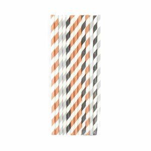 Papierstrohhalm Streifen, 25 Stück, L:19cm, kupfer