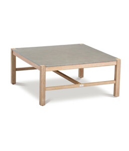 Best Tisch Madagaskar, 74x74x36 cm, Grandis-Hartholz, betongrau