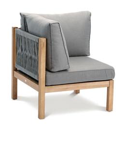 Best Lounge-Eckteil Madagaskar, 74x74x84 cm, Grandis-Hartholz, grau