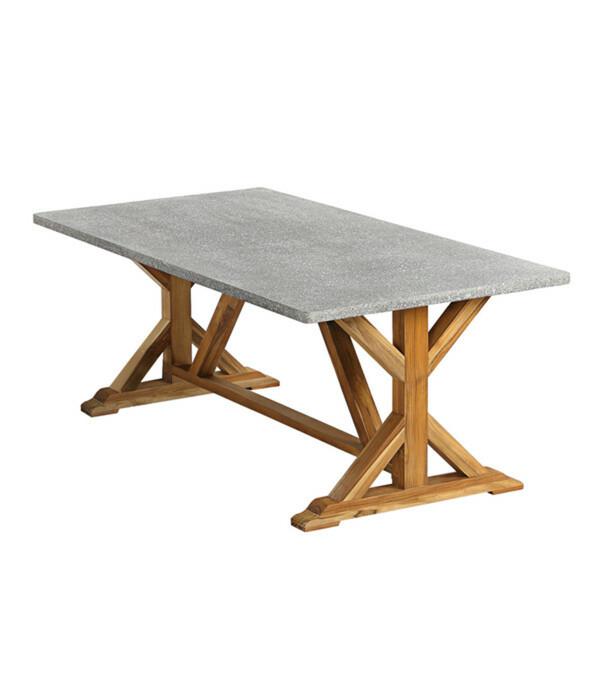 Fiberzement-Tisch Rocky, 200 x 100 x 74,5 cm