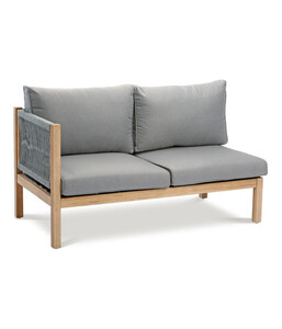 Best Lounge-Seitenteil links Madagaskar, 144x74x84 cm, Grandis-Hartholz, grau