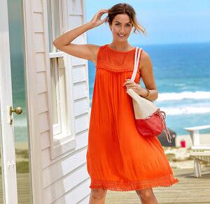 Laura Torelli Classic Damen-Kleid mit Crepe-Stoff