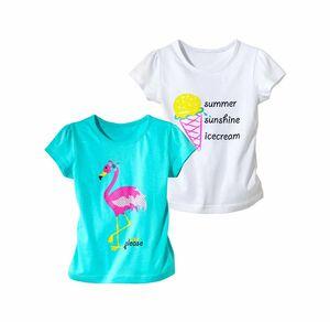 Kids Mädchen-T-Shirt mit Glitzerdruck, 2er Pack