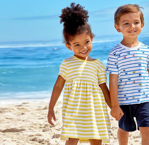 Liegelind Baby-Mädchen-Kleid mit sonnigen Streifen