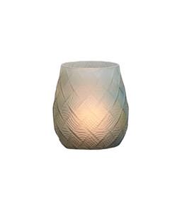 Dehner Glas-Windlicht Rautenmuster