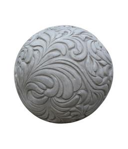 Leichtbeton-Kugel mit Dekor, grau