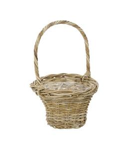 Rattan-Korb mit Henkel, braun, Ø 35 cm x 56 cm