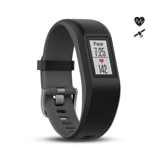 Fitnessarmband vívosport mit Herzfrequenzsensor am Handgelenk grau