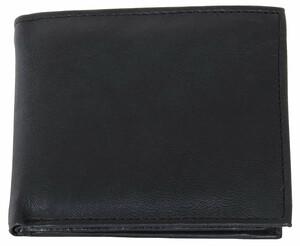 Herren Ledergeldbörse mit Riegel, Querformat, schwarz
