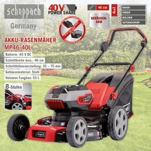 Scheppach Akku-Rasenmäher 46cm MP46-40Li