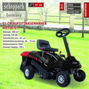 Scheppach Aufsitzrasenmäher MR196-61