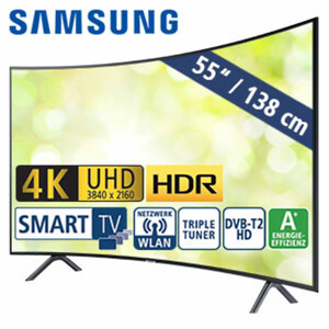 "55""-Curved-Ultra-HD-LED-TV 55RU7379 • HbbTV, HDR10+, HLG • Webbrowser • 3 HDMI-/2 USB-Anschlüsse, CI+ • Dolby Digital Plus, 20 Watt RMS • Stand-by: 0,5 Watt, Betrieb: 114 Watt • Maße: H"