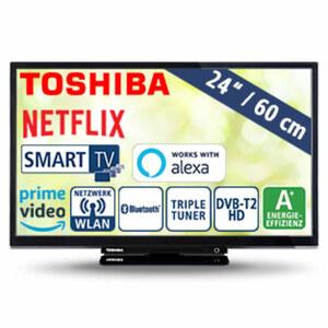 "24""-LED-HD-TV 24W2963DA • Auflösung 1.366 x 768 Pixel, HbbTV • 2 HDMI-Anschlüsse, USB-/CI+-Anschluss • Stand-by: 0,5 Watt, Betrieb 19 Watt • Maße: H 33,6 x B 55,4 x T 6,3 cm • Energie-Ef"