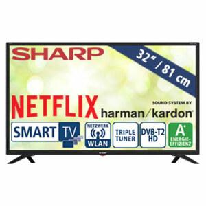 """32""""-LED-HD-TV LC-32HI5332E • Auflösung 1.366 x 768 Pixel, HbbTV • 3 HDMI-/2 USB-Anschlüsse, CI+ • 2 x 10 Watt RMS • Stand-by: 0,5 Watt, Betrieb: 31 Watt • Maße: H 43,7 x B 73,2 x T 8,4 c"""