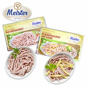 Meister Fleischwurst in Streifen geschnitten, natur oder mit Käse. jede 400-g-SB-Packung