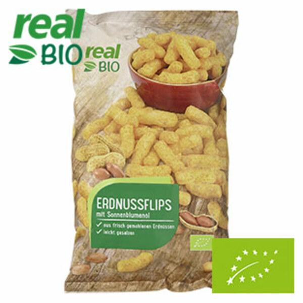 real Bio Erdnussflips jeder 150-g-Beutel
