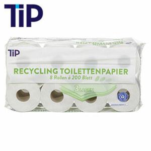 Recycling Toilettenpapier 3-lagig, 8 x 200 Blatt, jede Packung