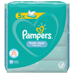 Pampers fresh clean 5x52 Stück