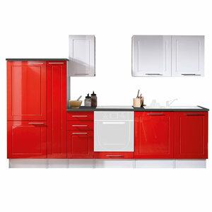 Küchenblock VALENZIA - weiß-rot - Hochglanz - 300 cm