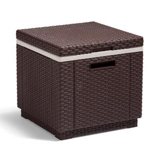 Allibert 212160 Kühlbox/Beistelltisch Ice Cube, Rattanoptik, Kunststoff, braun