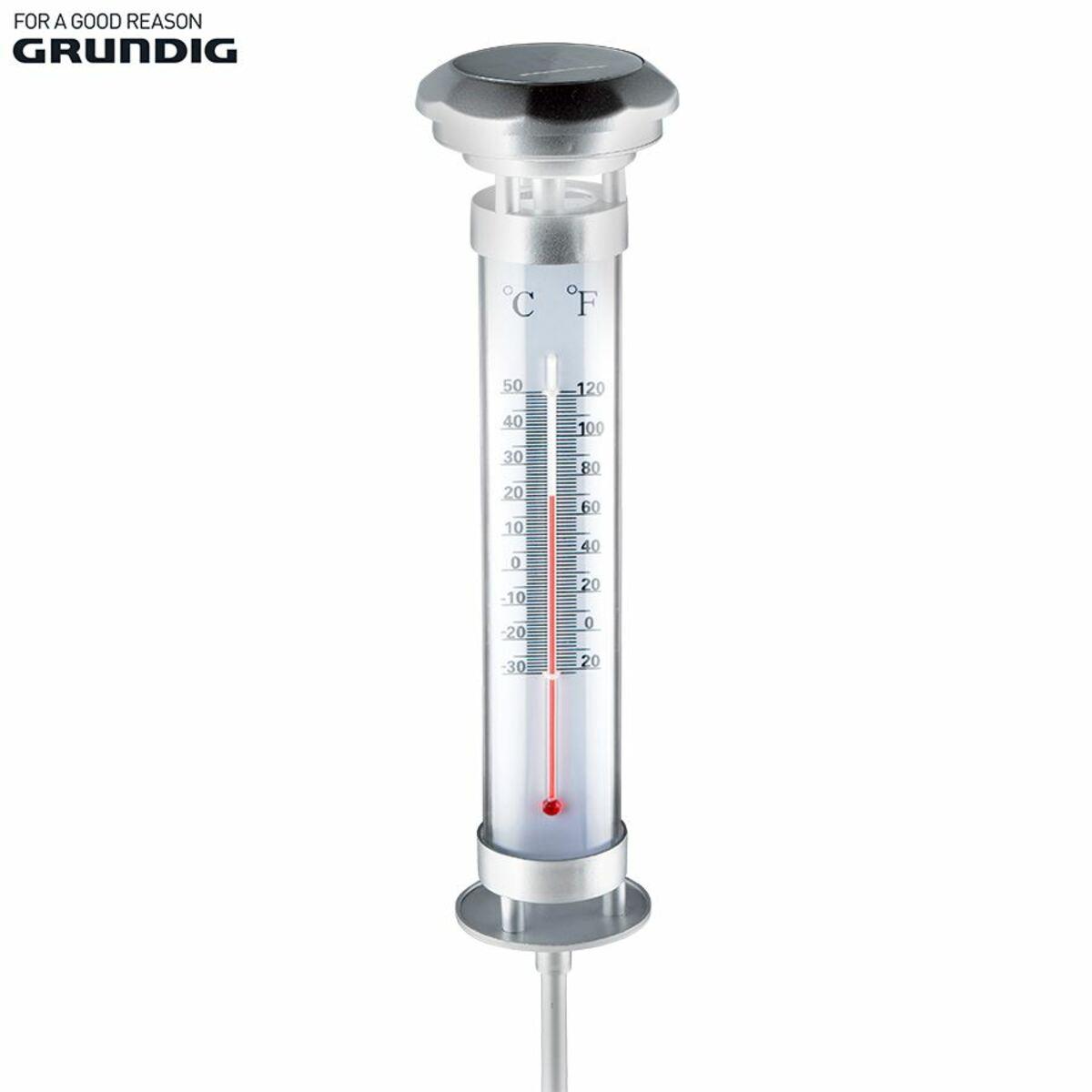 Bild 1 von Grundig Solar-Gartenthermometer mit LED-Beleuchtung 9,5x60cm