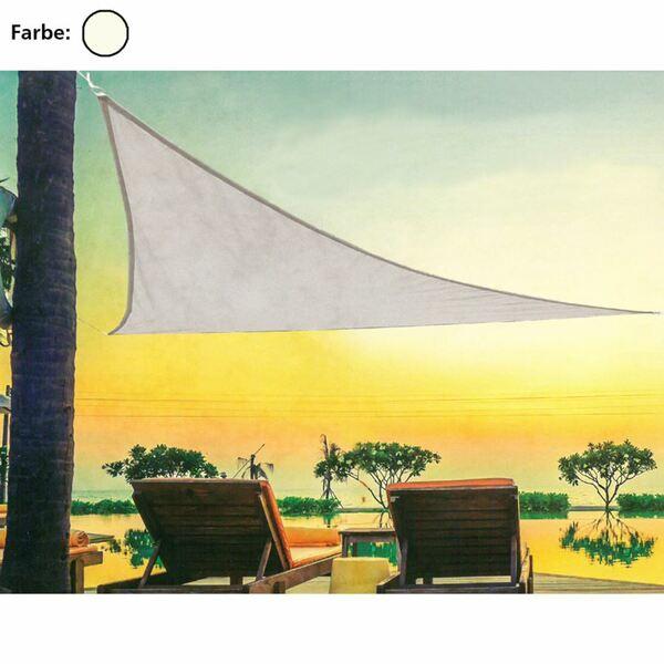 Sonnensegel dreieckig 3,6x3,6x3,6m, 100% Polyester, Gewicht: ca. 0,86kg, 185g/m² Creme