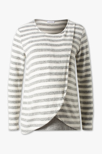 Yessica         Still-Langarmshirt - 2-in-1-Look - gestreift