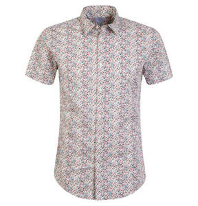 SELECTED             Freizeithemd, Slim Fit, Baumwolle, florales Muster, Kurzarm