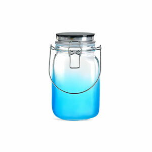 Solarleuchte Glas, D:11,5cm x H:21cm, blau