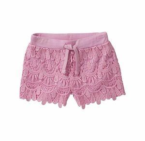 Kids Mädchen-Shorts mit Spitzeneinsatz