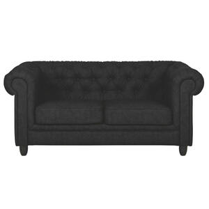 Carryhome CHESTERFIELD SOFA ZWEISITZER Lederlook Schwarz