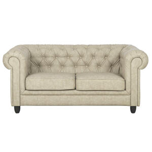 Carryhome CHESTERFIELD SOFA ZWEISITZER Lederlook Beige