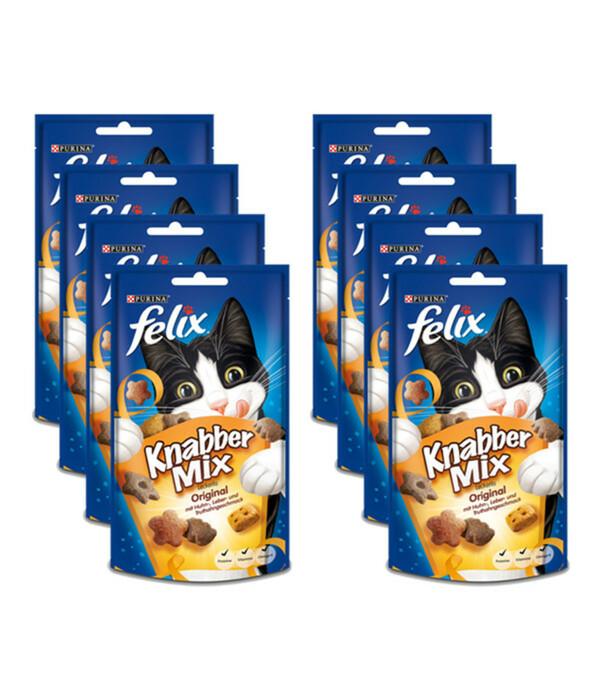 Felix Knabber-Mix Original, Katzensnack, 8x60 g