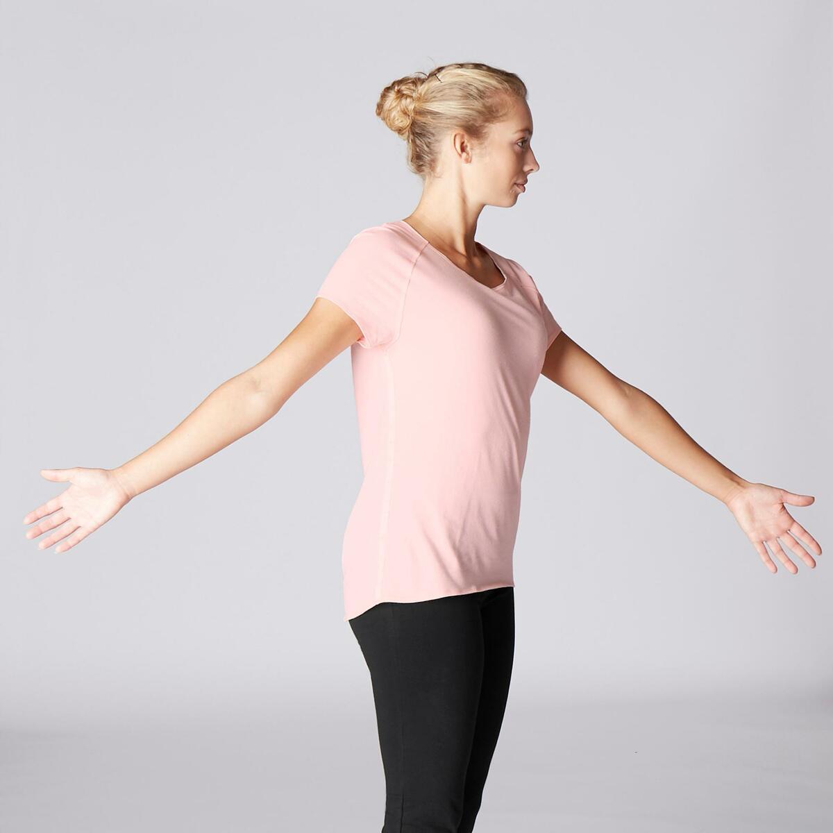 Bild 3 von T-Shirt sanftes Yoga aus Baumwolle aus biologischem Anbau Damen rosa