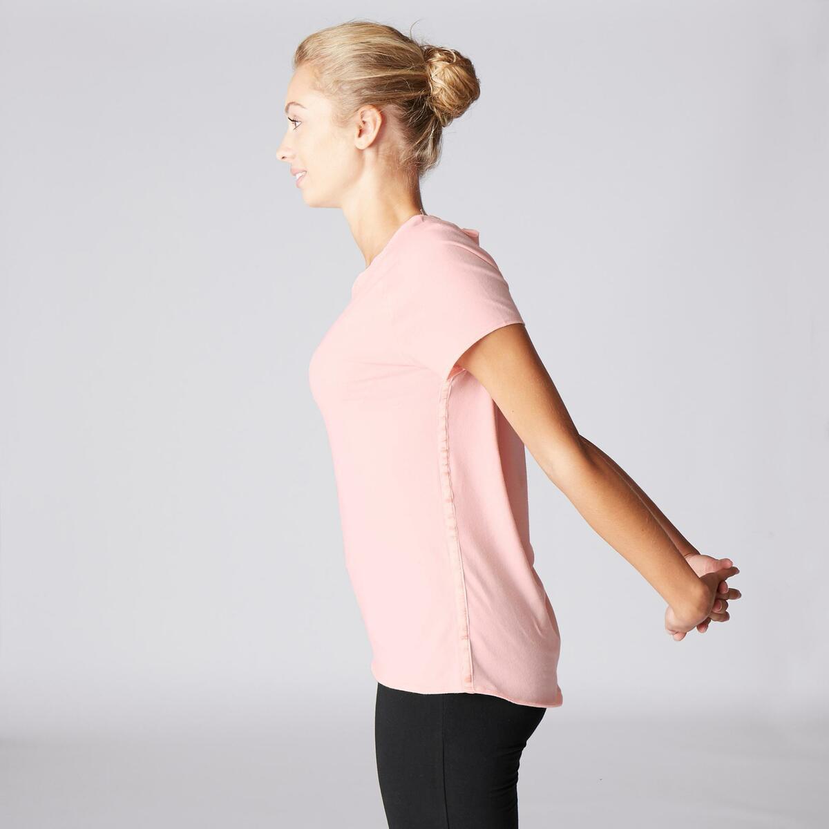 Bild 5 von T-Shirt sanftes Yoga aus Baumwolle aus biologischem Anbau Damen rosa