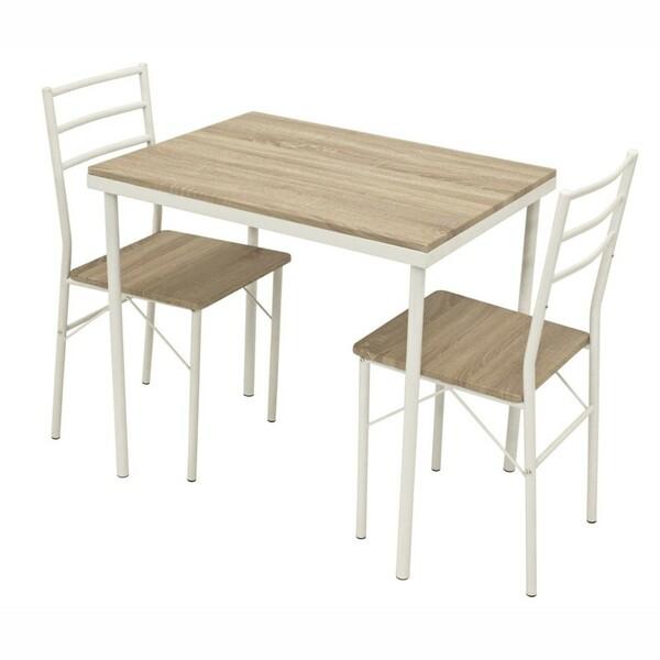 Sitzgruppe Köln Eichedekor Esstisch mit 2 Stühlen Stahlrohr weiß pulverbeschichtet