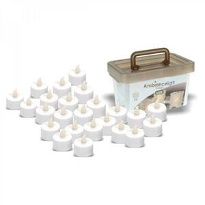 LED Teelichter 24Stk. weiß im Eimer inkl. 24xCR2032 Batterien flackernd Teelicht