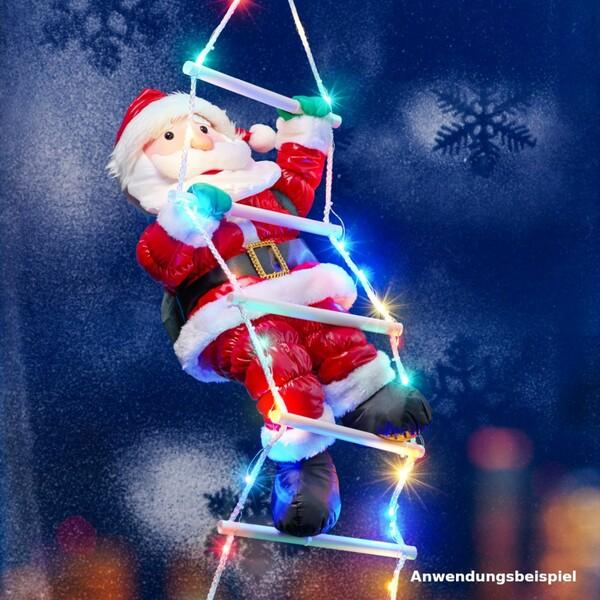 Weihnachtsmann auf LED Leiter