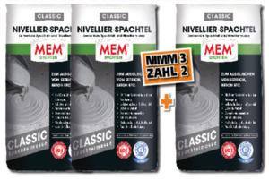 MEM Nivellier-Spachtel Classic - 3 für 2 Aktion ,  grau, 3 x 25 kg, für Innen