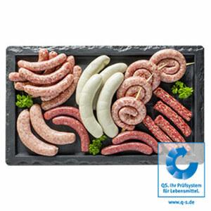 Meistermetzger Bratwurst Grillplatte zum Beispiel: für 6-8 Personen, 2 kg = 10,00 €, je 1 kg